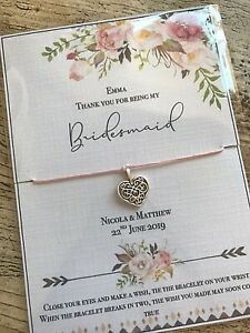 Will You be my Bridesmaid? Wish Bracelet Proposal gift Personalised Flower Girl