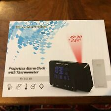 SMARTRO Digital Projection Alarm Clock with Weather Station, Indoor USB AC. New.
