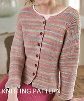 "(551) Ladies Cardigan Copy Knitting Pattern, Easy Knit in Aran yarn.  Up to 50"""