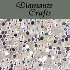 1000 2mm Clear Iridescent AB Diamante Loose Flat Back Rhinestone Nail Body Art