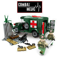 WW2 Military Ambulance Army Truck Medic Soldiers Medical War Vehicle fit lego