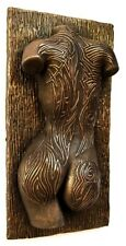Sexy Erotic Female Nude Tattooed Torso Bronze Metallic Wall Mount Sculpture Gift