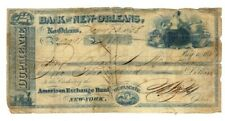 1838 bank of new orleans american exchange bank check duplicate $2000