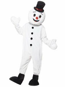Deluxe Snowman Mascot Costume Winter Fun Fancy Dress Adult White One Size