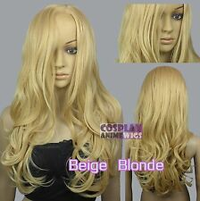 60cm Beige Blonde Heat Styleable No Bang Curly wavy Cosplay Wigs 38_086