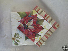 Christmas Vintage Poinsettia Party Lunch & Beverage Napkins Paper New