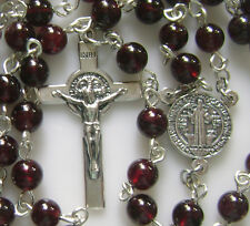 STERLING 925 SILVER ROSARY CROSS CRUCIFIX 7MM GARNET GEMSTONE BEADS NECKLACE BOX