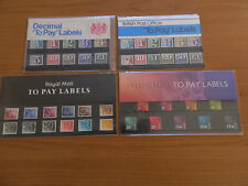 """4 x ROYAL MAIL """"TO PAY LABELS """" PRESENTATION PACKS(Nos36,93,135,32) IN MINT COND"""