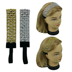 2 PCS Gold & Silver Headwrap Headband with Elastic band