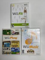 Wii Fit Wii Play Wii Music Nintendo Wii Video Game Bundle Lot