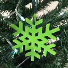 VERT CITRON Cristal flocon de neige Noël Arbre Décorations & VERT RUBAN x 10