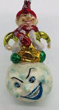 Slavic Treasures Elf on Snowball Blown Glass Christmas Ornament Poland
