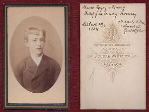 1884 Original Vintage Cardboard Photo Antique Man Boy Suit Slovenia Signed BnW