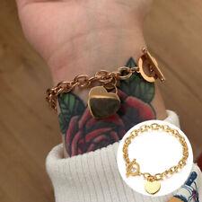 Fashion Women Stainless Steel Love Heart  Bracelet Chain Bangle Jewelry RAS