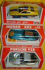 POLISTIL 3CAST METAL JAGUAR XKE PORSCHE 928 BMW MI PRO 1.41scale 1981MIsB DECALS