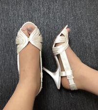 Ivory Satin Shoes Size 6 Heels Sling backs Wedding Bridal Leila Vintage Style