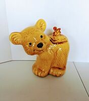 Vintage Brown  Honey Bear with Butterfly Cookie Jar Container 1960s  1970s
