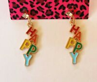 Betsey Johnson Crystal Rhinestone Enamel Rainbow Happy Post Earrings