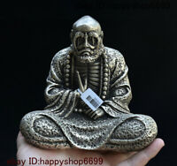 Collect Old Chinese Buddhism Silver Arhat Damo Bodhidharma Dharma Buddha Statue