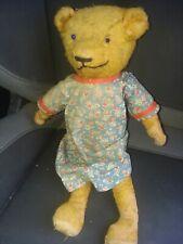 Vintage Straw-Stuffed Teddy Bear Antique Toy- rough shape