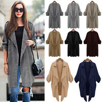 Womens Long Sleeve Casual Cardigan Open Front Trench Coat Jacket Autumn Outwear