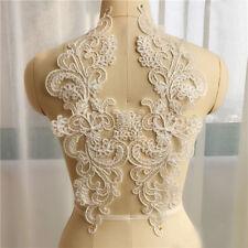 1 Pair Lace Applique Trim Embroidery Sewing Motif Wedding Bridal DIY Crafts