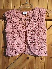 "Girls Crochet Sleeveless Cardigan Bolero Top Dusky Pink  Age 13 Chest 30"" (6)"