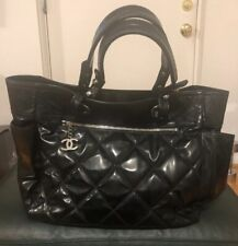Chanel Quilted Black Leather Handbag Silver Hardware