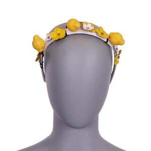 DOLCE & GABBANA Headband Hairband Tiara Flowers Crystals Lemon Yellow 06388