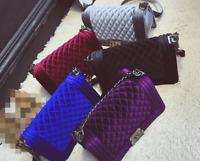Women Lady Velvet Bag Messenger Shoulder Quilted Satchel Chain Crossbody Purse h