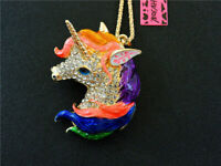 Betsey Johnson Lovely Enemal Rhinestone Unicorn Horse Pendant Chain Necklace