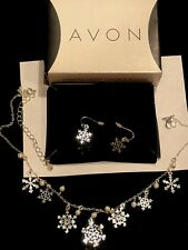 AVON Snowflake Necklace and Earring Gift Christmas Set - Adjustable NEW BOXES