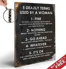 5 mortelle termes utilisés par une femme * fun cite SIGNE Poster A4 * home wall art cadeau
