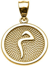 "14k Yellow Gold Arabic Letter ""miim"" M Initial Charm Pendant"