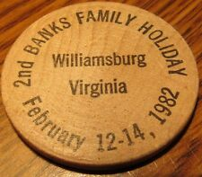 1982 2nd Banks Family Holiday Williamsburg, VA Wooden Nickel - Token Virginia
