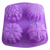 DIY Silicone 4 Cells Flower Cake Soap Mould Jelly Candy Ice Cube Candy Tray Mold