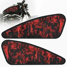 2Pcs Red Skull Motorcycle 3D Decals Fuel Gas Tank Stickers for Harley XL883 1200