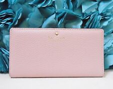 NWT Kate Spade Cobble Hill Stacy Pebble Leather Wallet Pink Granite New $128
