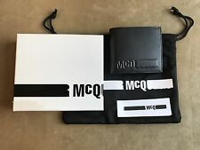 ALEXANDER McQUEEN McQ BLACK SMOOTH LEATHER WITH EMBOSSED McQ LOGO BIFOLD WALLET