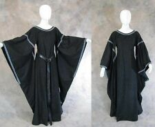 Black Medieval Bell Sleeve Dress Gown SCA Game of Thrones Cosplay LARP S M