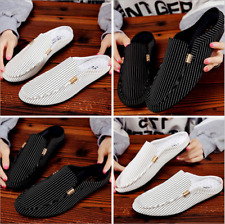Men's Round Toe Canvas Loafers Casual Driving Moccasins Beach Slippers Shoes