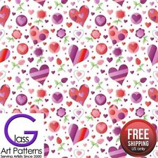 Heart & Flower Fused Glass Decal Ceramic Waterslide Fusing Sheet 8.5 inch Square