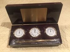 Bulova Hygrometer, Clock, Thermometer & Pen In Mahogany Wood New In Box