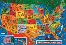 JR PICTURE MAP of UNITED STATES OF AMERICA 500 Piece Colourful Jigsaw Puzzle USA