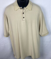 Tommy Bahama Men's Silk/Cotton Golf Shirt Size Large Cream Colored Polo