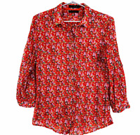 David Lawrence Womens Orange Floral Long Sleeve Button Up Blouse Size 10