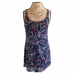 Guess Dress size 9Sleeveless Y2K 90's Paisley Sheer Shift Retro Colorful Ruffle