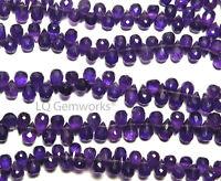 "9"" Grape Purple AMETHYST 6-7mm Faceted Teardrop Beads NATURAL AA+ /t3"