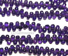 "9"" Grape Purple AMETHYST 6-7mm Faceted Teardrop Beads NATURAL AA+ /t3"