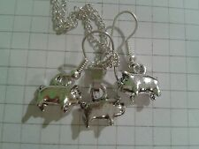 "TIBETAN SILVER (SET)""SHINEY 3D PIGS"" EARRINGS+PENDANT18""or 20""NECKLACE"